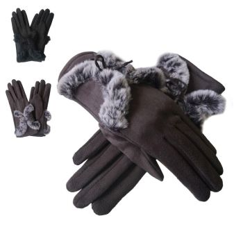 Faux Suede Gloves with Faux Fur Tie - Grey