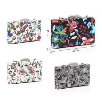 Mia Embroidered Floral Design Clutch Bag