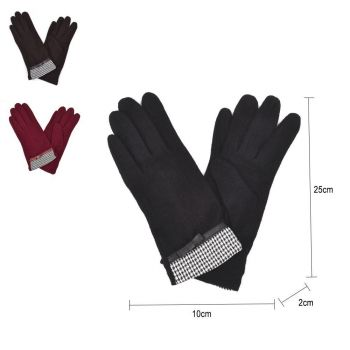Leather Bow Details Ladies Wool Gloves
