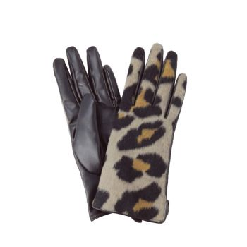 Stacey Leopard Print Boxed Gloves - Beige