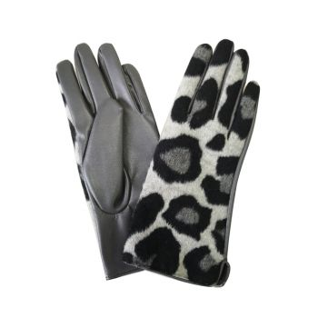Stacey Leopard Print Boxed Gloves - Grey