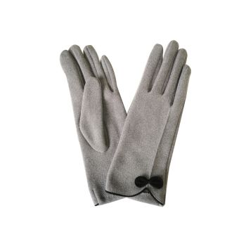 Beau Soft Touch Classy Small Bow Detail Glove - Grey
