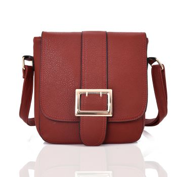 Large Buckle Crossbody Bag - Red