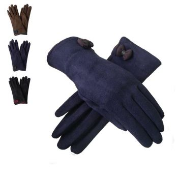 Faux Suede Gloves with Contrast Bow