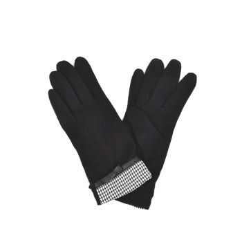 Leather Bow Details Ladies Wool Gloves- Black