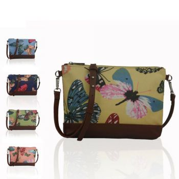 Large Butterfly Canvas Mini Cross Body Bag