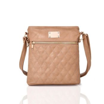 Maggie Quilted Cross Body Bag  - Beige