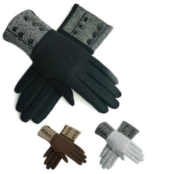 Herringbone Buttoned Cuff Ladies Wool Gloves