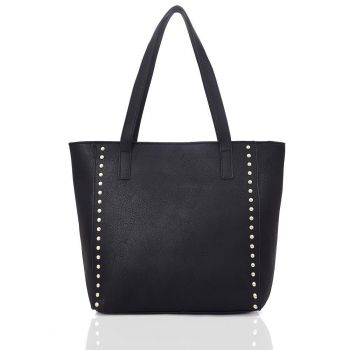 Vivien Studded Shopper Bag - Black