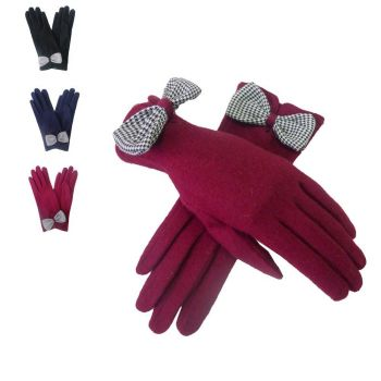 Large Bow Ladies Gloves