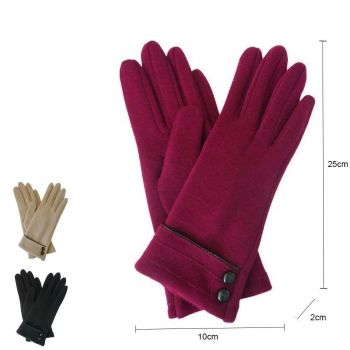 Button And Stitching Gloves