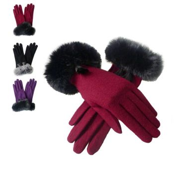 Faux Fur Tassel Cuff Gloves