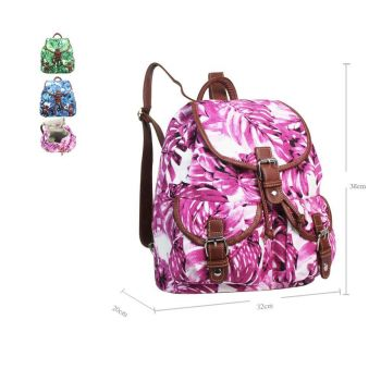Hawaiian Leaf Double Pocket Backpack