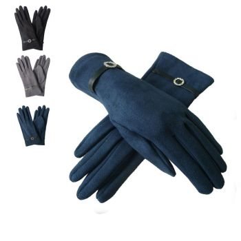 Suede Flower Buckle Gloves