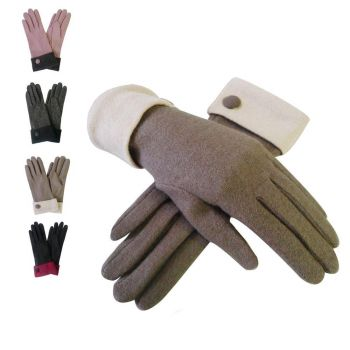 Wool Contrast Cuff Button Gloves