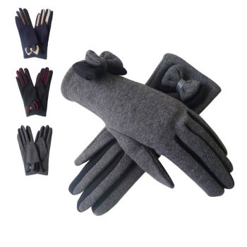 Contrast Bow Coloured Finger Gloves