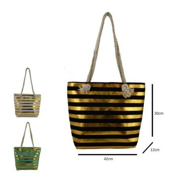 Gold Stripes Beach Bag