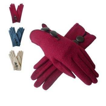 Double Button Wool Gloves