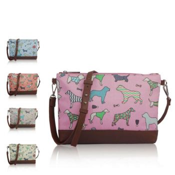 Canvas Dog Mix Print Cross Body Bag