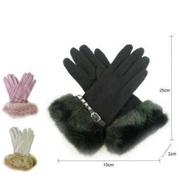 Studded Strap Fur Gloves
