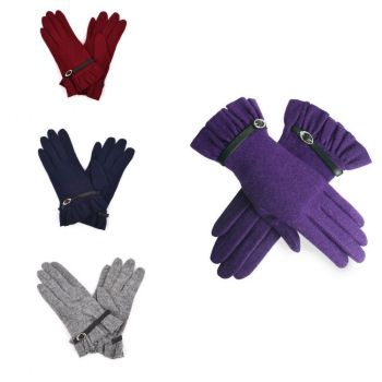 Buckle Decor Wool Ladies Gloves