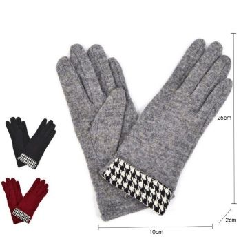 Check Print Design Ladies Wool Gloves