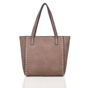 Vivien Studded Shopper Bag - Khaki