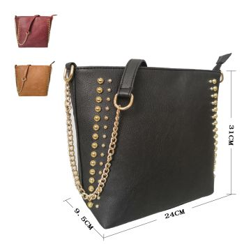 Miley Round Metal Detail Shoulder Bag with Metal Chain