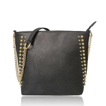 Miley Round Metal Detail Shoulder Bag with Metal Chain-Black