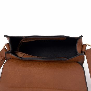 Embroidered Envelope Style Crossbody Bag - Red Brown