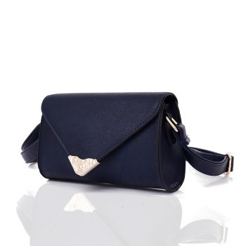 Embroidered Envelope Style Crossbody Bag - Navy Blue