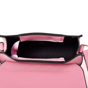 Embroidered Envelope Style Crossbody Bag - Pink