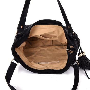 Miai Double Tassel Shopper Bag - Black
