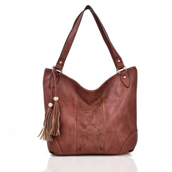 Miai Double Tassel Shopper Bag - Red Brown