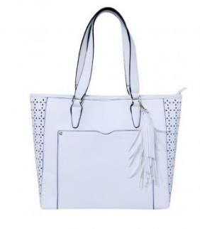 Large Tote Shoulder Bag With Tassel - White