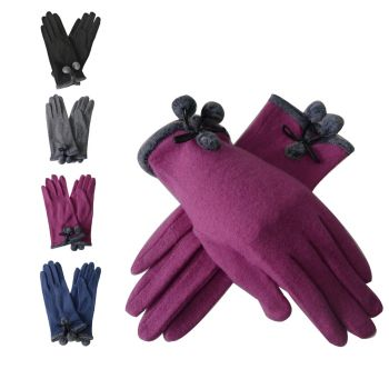Pom Pom Cuffed Winter Gloves
