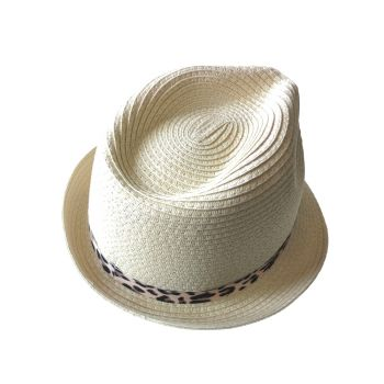 Straw trilby hat with leopard band