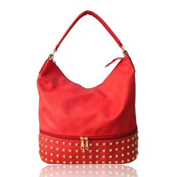 Adette Stud Slouchy Shopper  - Red